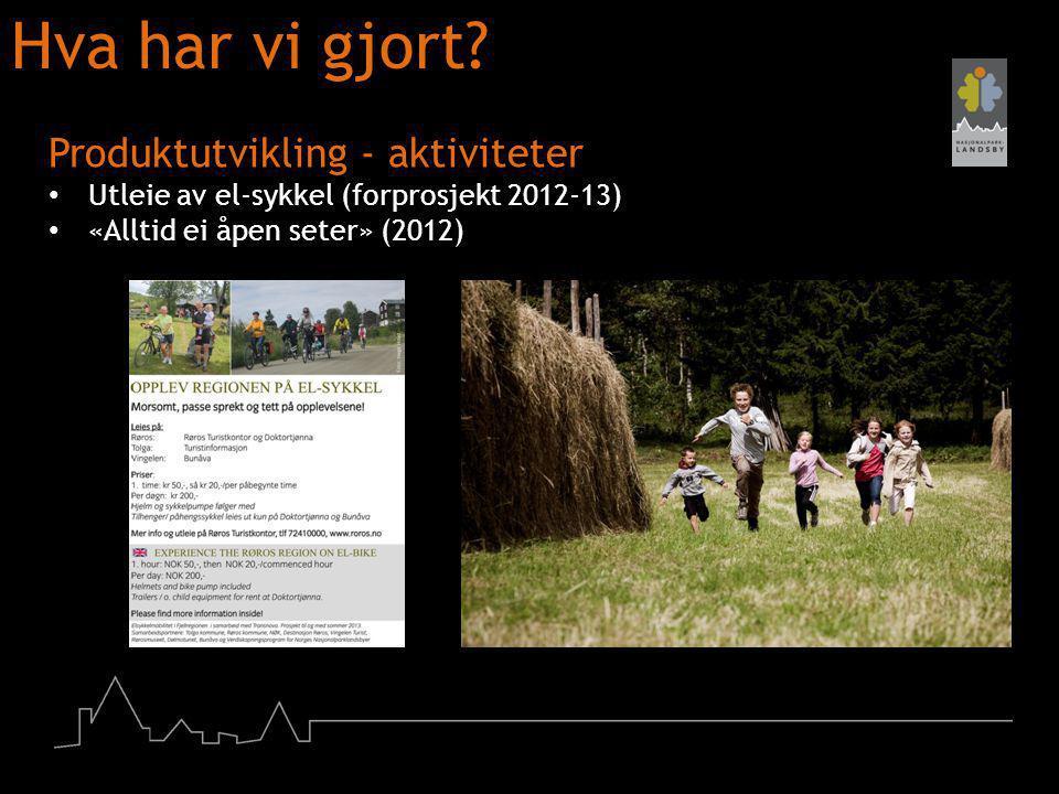 Hva har vi gjort? Produktutvikling - aktiviteter Utleie av el-sykkel (forprosjekt 2012-13) «Alltid ei åpen seter» (2012)