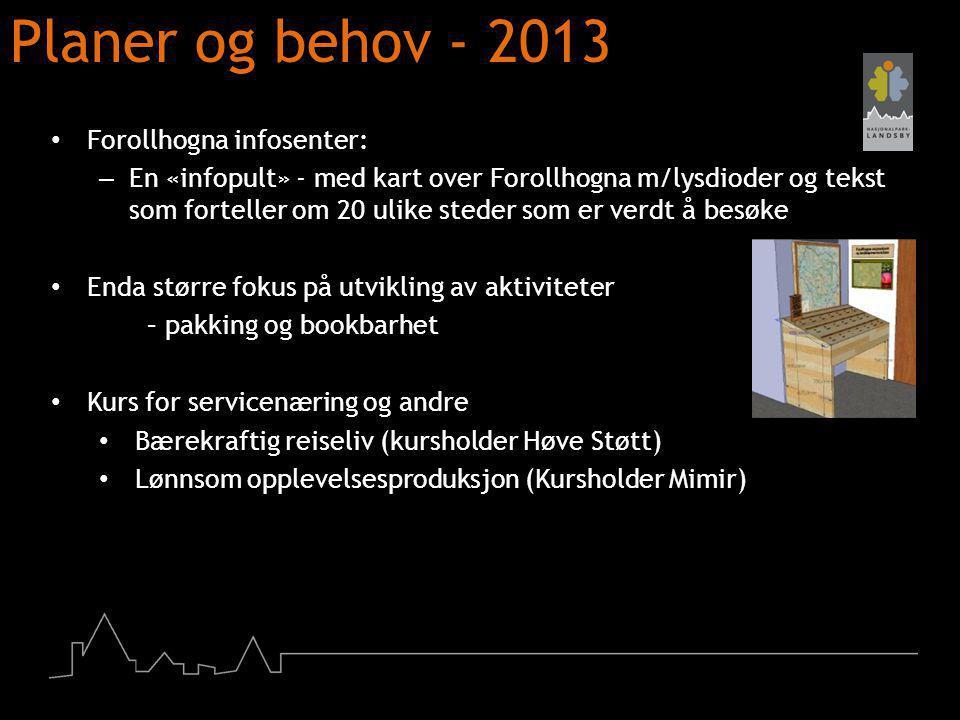 Planer og behov - 2013 Forollhogna infosenter: – En «infopult» - med kart over Forollhogna m/lysdioder og tekst som forteller om 20 ulike steder som e