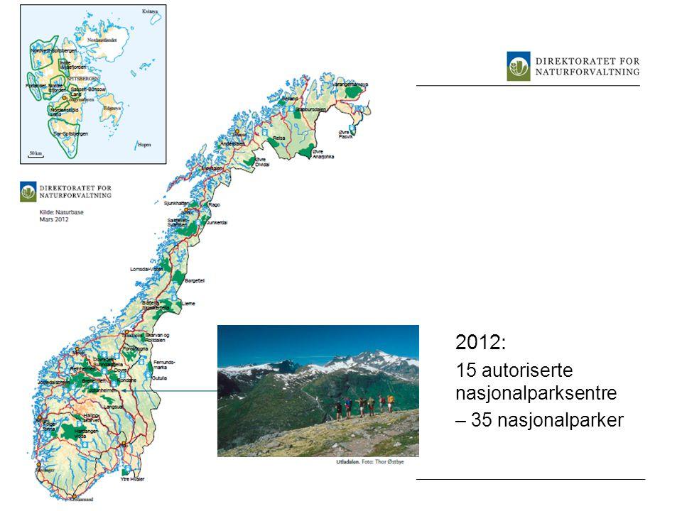 2012: 15 autoriserte nasjonalparksentre – 35 nasjonalparker www.dirnat.no