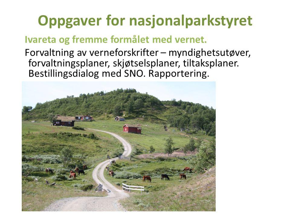 Oppgaver for nasjonalparkstyret Ivareta og fremme formålet med vernet. Forvaltning av verneforskrifter – myndighetsutøver, forvaltningsplaner, skjøtse
