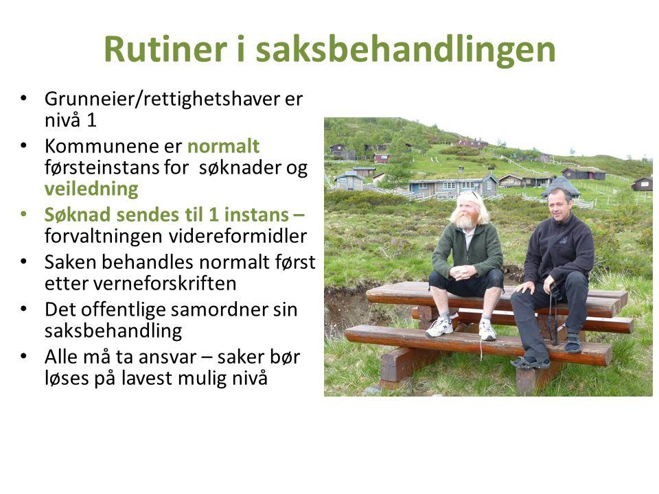 Rutiner i saksbehandlingen Grunneier/rettighetshaver er nivå 1 Kommunene er normalt førsteinstans for søknader og veiledning Søknad sendes til 1 insta