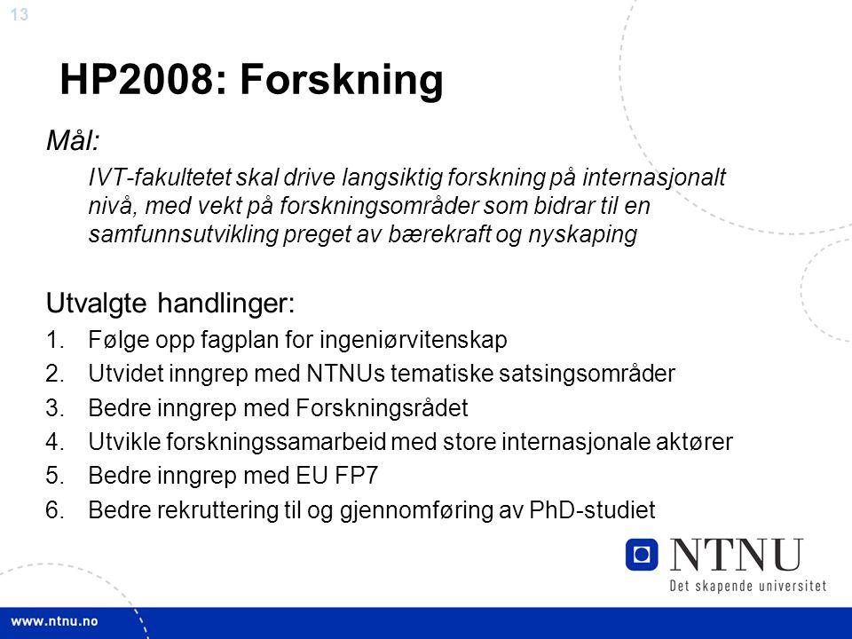 13 HP2008: Forskning Mål: IVT-fakultetet skal drive langsiktig forskning på internasjonalt nivå, med vekt på forskningsområder som bidrar til en samfunnsutvikling preget av bærekraft og nyskaping Utvalgte handlinger: 1.Følge opp fagplan for ingeniørvitenskap 2.Utvidet inngrep med NTNUs tematiske satsingsområder 3.Bedre inngrep med Forskningsrådet 4.Utvikle forskningssamarbeid med store internasjonale aktører 5.Bedre inngrep med EU FP7 6.Bedre rekruttering til og gjennomføring av PhD-studiet
