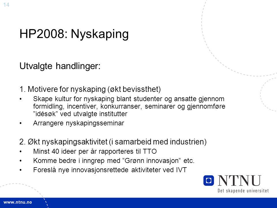 14 HP2008: Nyskaping Utvalgte handlinger: 1. Motivere for nyskaping (økt bevissthet) Skape kultur for nyskaping blant studenter og ansatte gjennom for