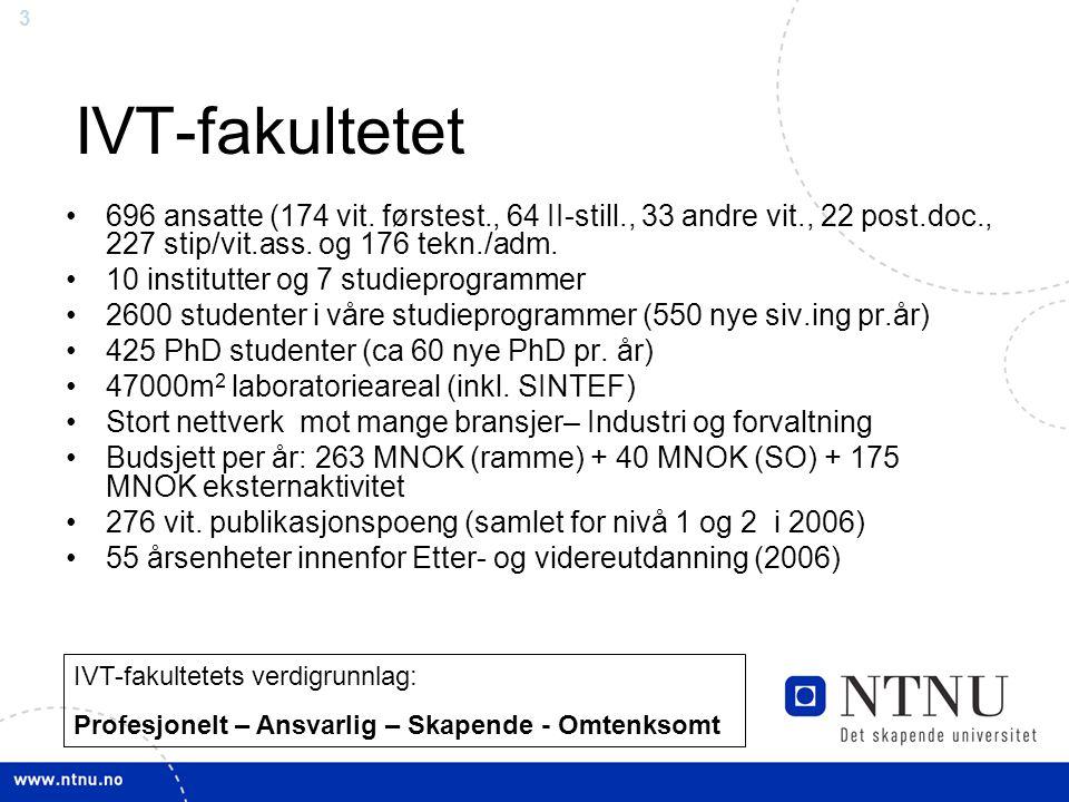 3 IVT-fakultetet 696 ansatte (174 vit. førstest., 64 II-still., 33 andre vit., 22 post.doc., 227 stip/vit.ass. og 176 tekn./adm. 10 institutter og 7 s