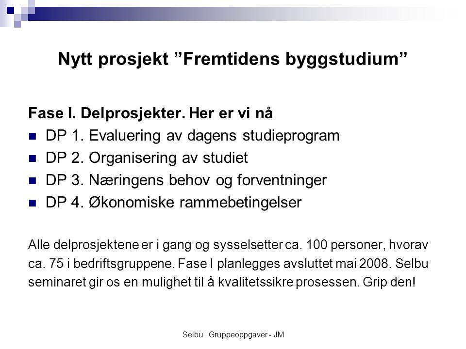 Selbu. Gruppeoppgaver - JM Nytt prosjekt Fremtidens byggstudium Fase I.