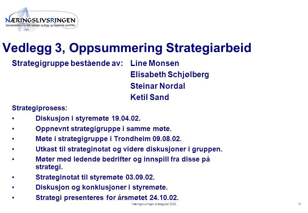 10Næringslivsringen strategiplan 2002 Vedlegg 3, Oppsummering Strategiarbeid Strategigruppe bestående av:Line Monsen Elisabeth Schjølberg Steinar Nordal Ketil Sand Strategiprosess: Diskusjon i styremøte 19.04.02.