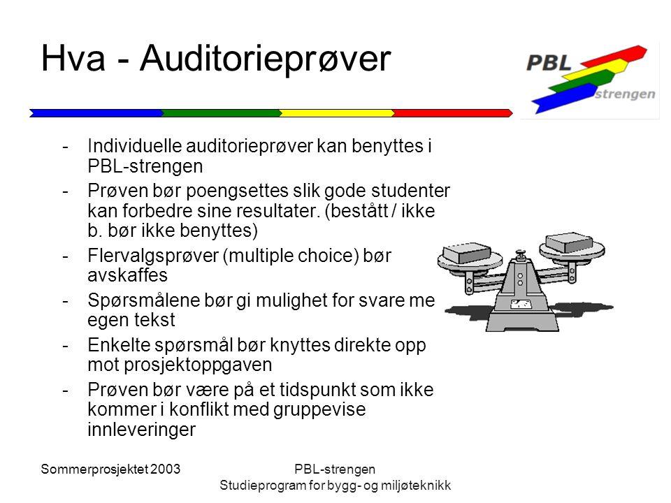Sommerprosjektet 2003PBL-strengen Studieprogram for bygg- og miljøteknikk Hva - Auditorieprøver -Individuelle auditorieprøver kan benyttes i PBL-stren