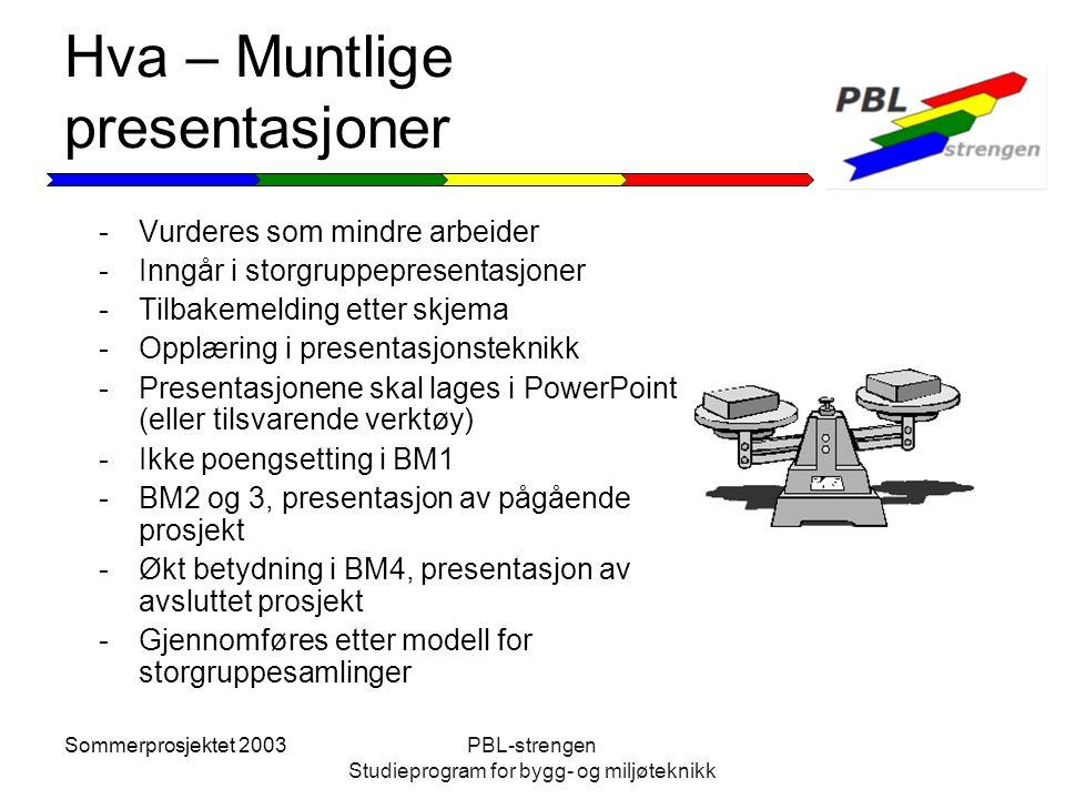 Sommerprosjektet 2003PBL-strengen Studieprogram for bygg- og miljøteknikk Hva – Muntlige presentasjoner -Vurderes som mindre arbeider -Inngår i storgr