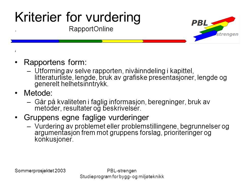 Sommerprosjektet 2003PBL-strengen Studieprogram for bygg- og miljøteknikk Kriterier for vurdering. RapportOnline ' Rapportens form: –Utforming av selv