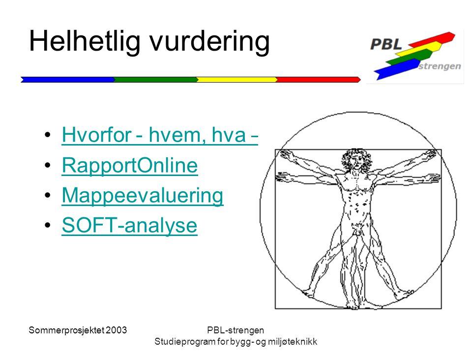 Sommerprosjektet 2003PBL-strengen Studieprogram for bygg- og miljøteknikk Helhetlig vurdering Hvorfor - hvem, hva – hvordan RapportOnline Mappeevaluer
