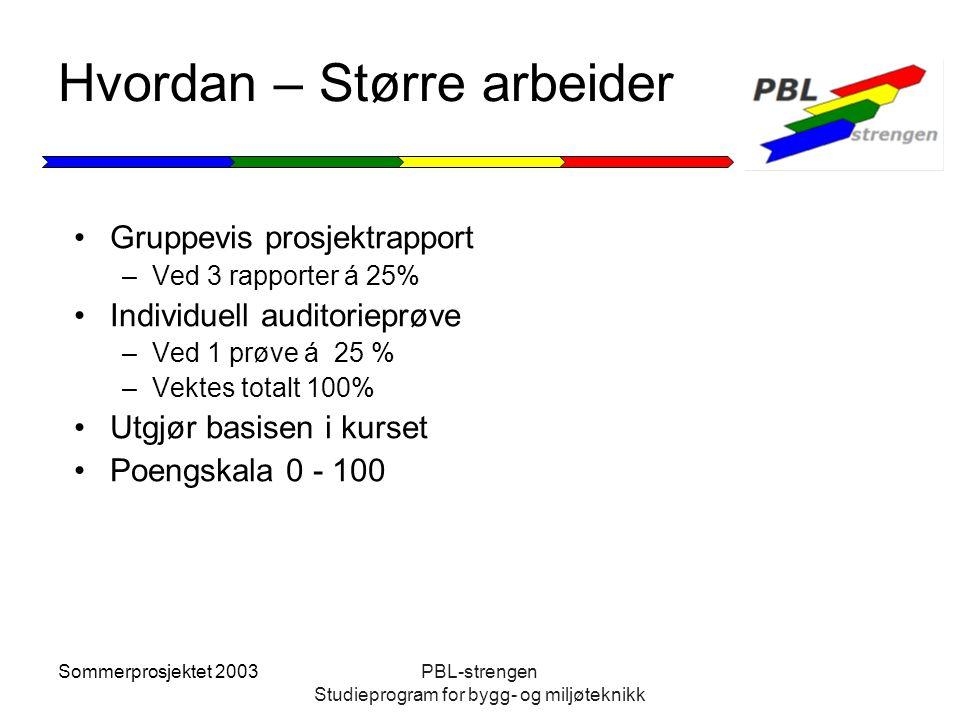 Sommerprosjektet 2003PBL-strengen Studieprogram for bygg- og miljøteknikk Hvordan – Større arbeider Gruppevis prosjektrapport –Ved 3 rapporter á 25% I