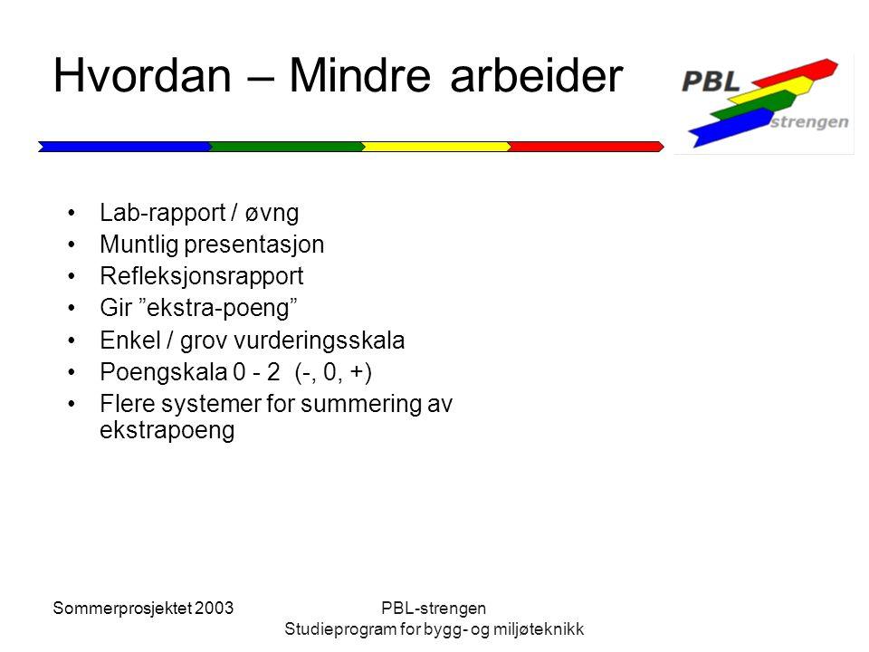 Sommerprosjektet 2003PBL-strengen Studieprogram for bygg- og miljøteknikk Hvordan – Mindre arbeider Lab-rapport / øvng Muntlig presentasjon Refleksjon