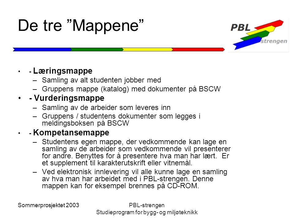 """Sommerprosjektet 2003PBL-strengen Studieprogram for bygg- og miljøteknikk De tre """"Mappene"""" - Læringsmappe –Samling av alt studenten jobber med –Gruppe"""