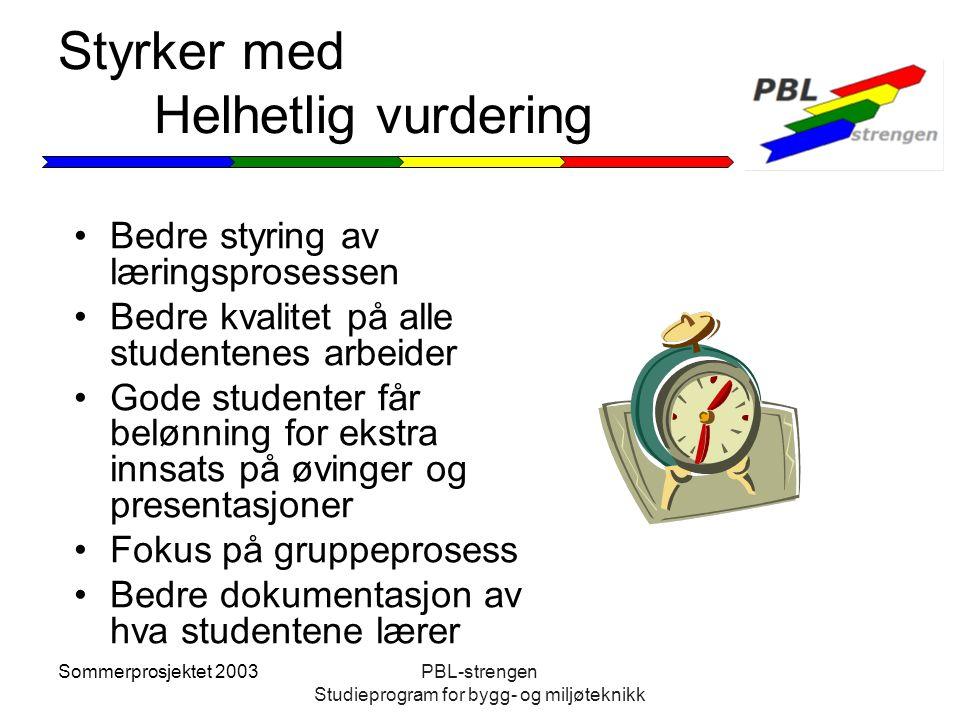 Sommerprosjektet 2003PBL-strengen Studieprogram for bygg- og miljøteknikk Styrker med Helhetlig vurdering Bedre styring av læringsprosessen Bedre kval