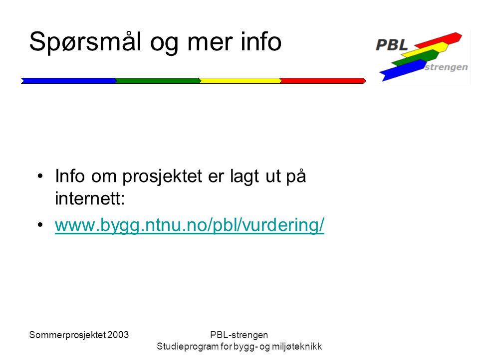 Sommerprosjektet 2003PBL-strengen Studieprogram for bygg- og miljøteknikk Spørsmål og mer info Info om prosjektet er lagt ut på internett: www.bygg.nt