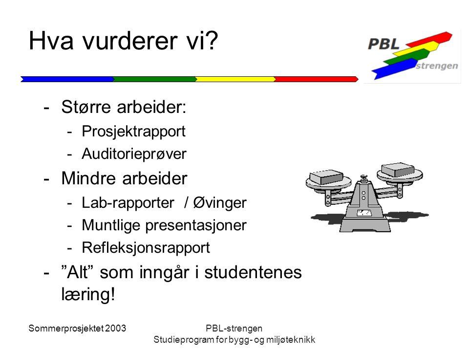 Sommerprosjektet 2003PBL-strengen Studieprogram for bygg- og miljøteknikk Hva vurderer vi? -Større arbeider: -Prosjektrapport -Auditorieprøver -Mindre