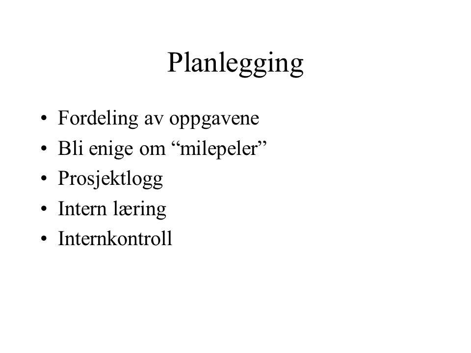 Planlegging Fordeling av oppgavene Bli enige om milepeler Prosjektlogg Intern læring Internkontroll