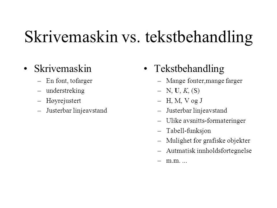 Skrivemaskin vs. tekstbehandling Skrivemaskin –En font, tofarger –understreking –Høyrejustert –Justerbar linjeavstand Tekstbehandling –Mange fonter,ma