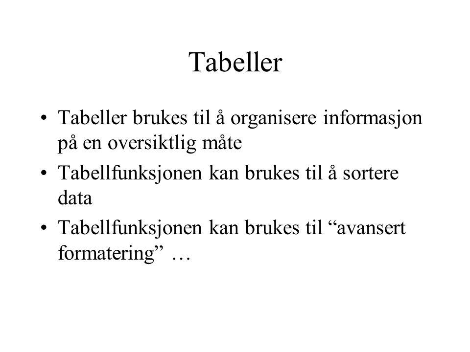 Tabeller Tabeller brukes til å organisere informasjon på en oversiktlig måte Tabellfunksjonen kan brukes til å sortere data Tabellfunksjonen kan bruke