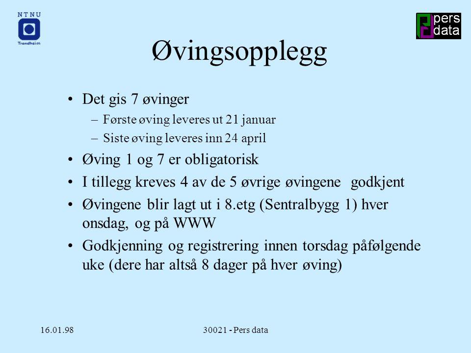16.01.9830021 - Pers data Godkjenning av øvinger Få tak i en stud.ass.