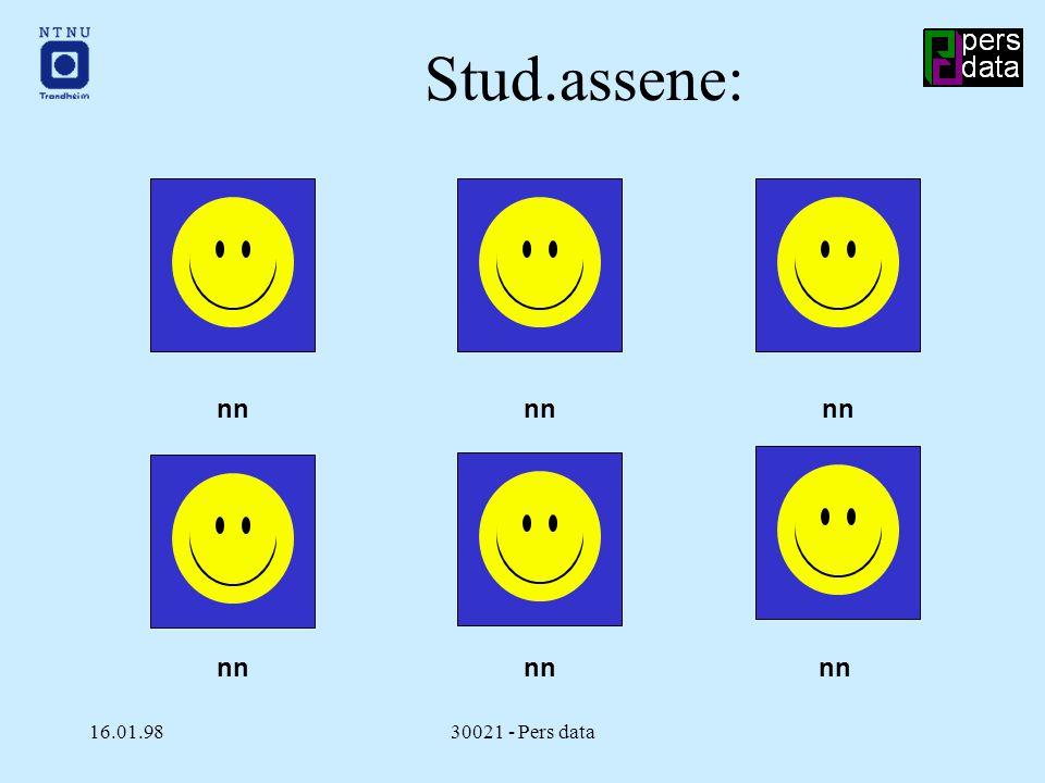 16.01.9830021 - Pers data Stud.assene: nn