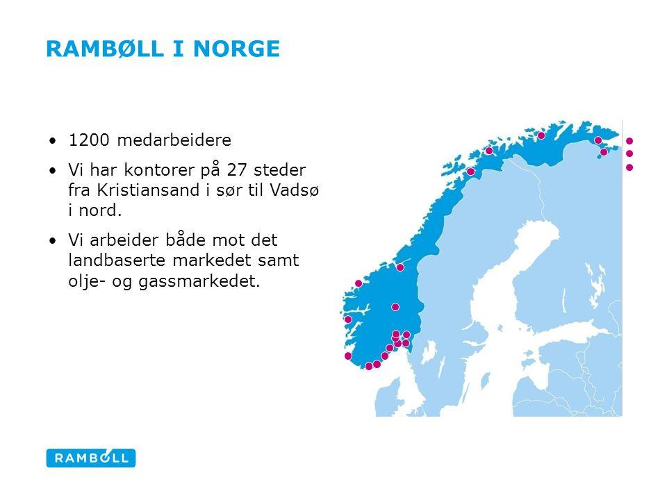 RAMBØLL I NORGE 1200 medarbeidere Vi har kontorer på 27 steder fra Kristiansand i sør til Vadsø i nord. Vi arbeider både mot det landbaserte markedet