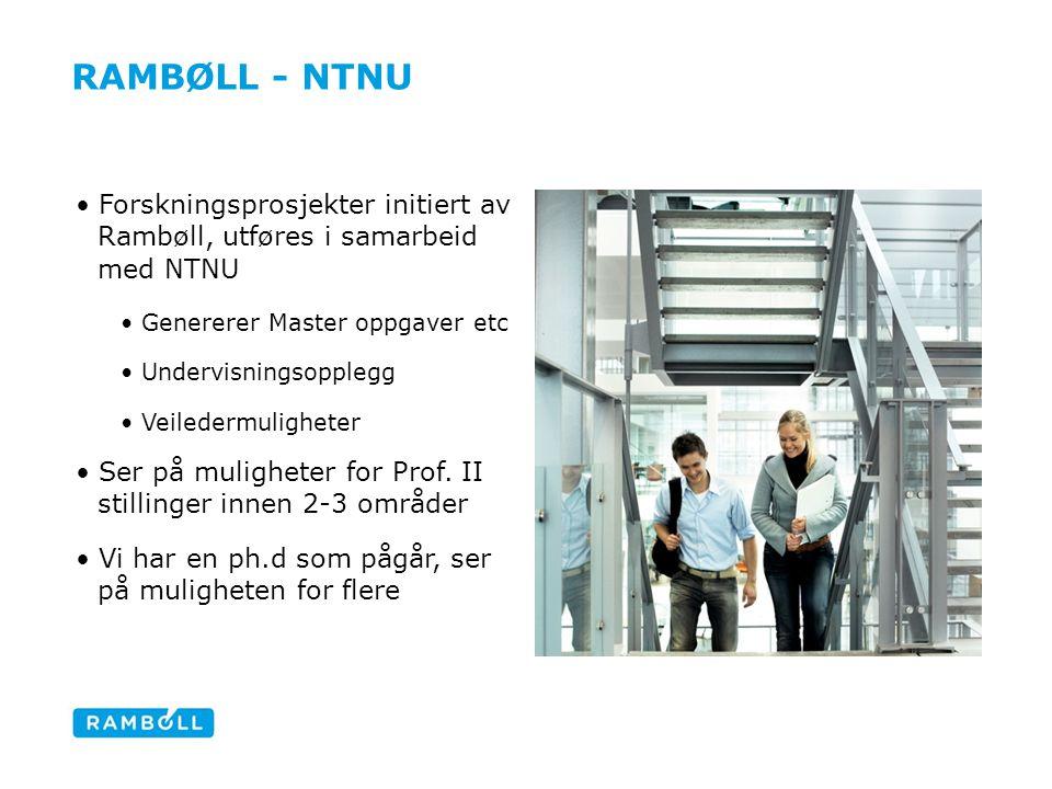 RAMBØLL - NTNU Forskningsprosjekter initiert av Rambøll, utføres i samarbeid med NTNU Genererer Master oppgaver etc Undervisningsopplegg Veiledermulig