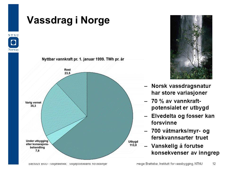 """SIB5005 BM3 - Miljøteknikk: """"Miljøpolitikkens hovedlinjer""""Helge Brattebø, Institutt for vassbygging, NTNU 12 Vassdrag i Norge –Norsk vassdragsnatur ha"""