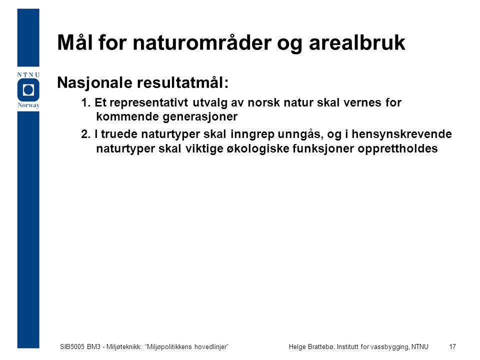 """SIB5005 BM3 - Miljøteknikk: """"Miljøpolitikkens hovedlinjer""""Helge Brattebø, Institutt for vassbygging, NTNU 17 Mål for naturområder og arealbruk Nasjona"""