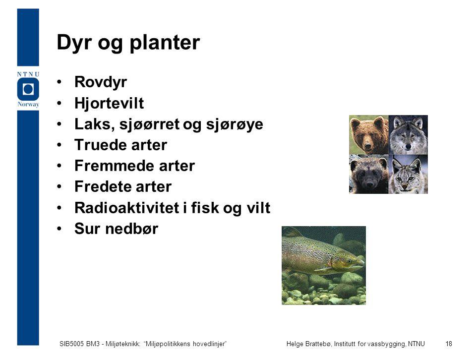 """SIB5005 BM3 - Miljøteknikk: """"Miljøpolitikkens hovedlinjer""""Helge Brattebø, Institutt for vassbygging, NTNU 18 Dyr og planter Rovdyr Hjortevilt Laks, sj"""