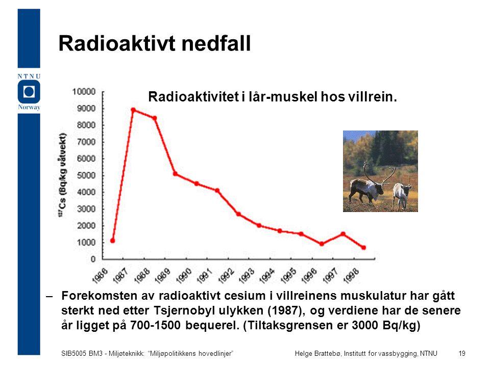 "SIB5005 BM3 - Miljøteknikk: ""Miljøpolitikkens hovedlinjer""Helge Brattebø, Institutt for vassbygging, NTNU 19 Radioaktivitet i lår-muskel hos villrein."