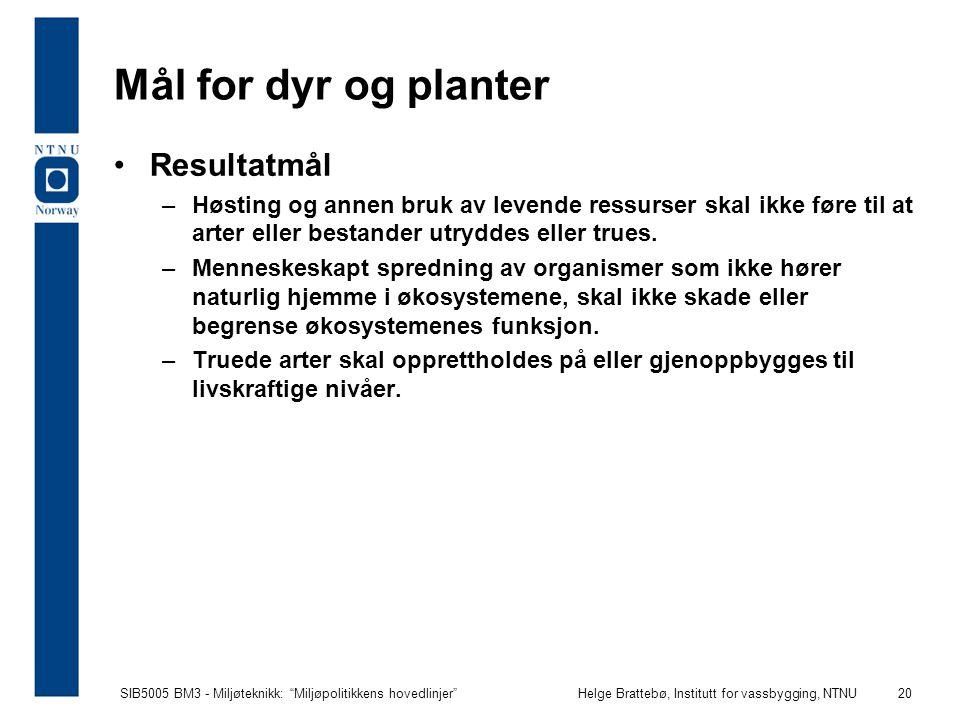 """SIB5005 BM3 - Miljøteknikk: """"Miljøpolitikkens hovedlinjer""""Helge Brattebø, Institutt for vassbygging, NTNU 20 Mål for dyr og planter Resultatmål –Høsti"""