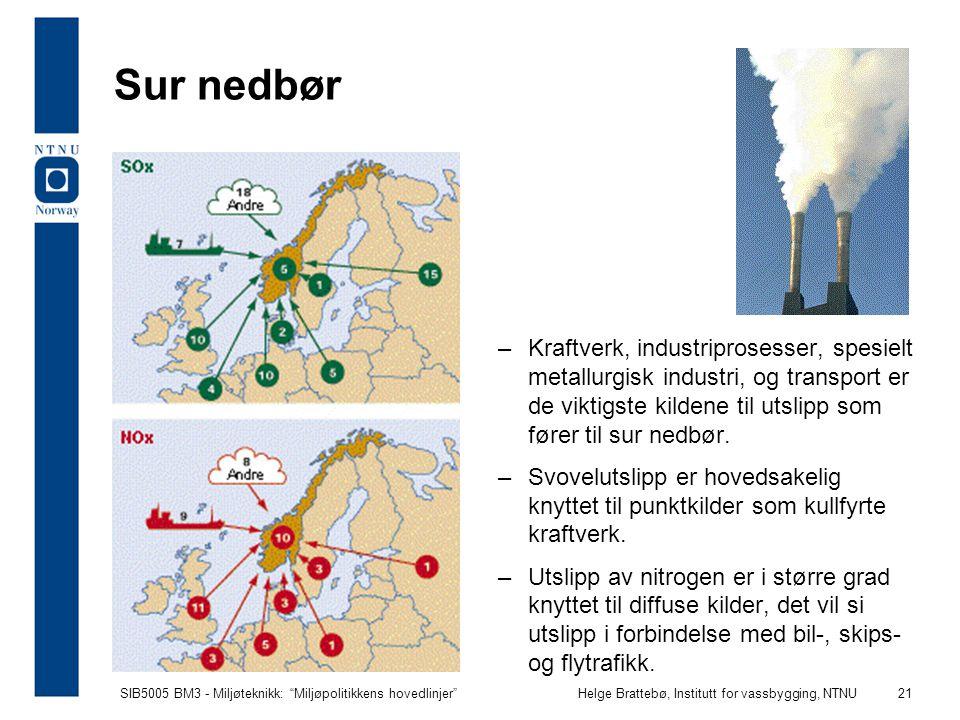 """SIB5005 BM3 - Miljøteknikk: """"Miljøpolitikkens hovedlinjer""""Helge Brattebø, Institutt for vassbygging, NTNU 21 Sur nedbør –Kraftverk, industriprosesser,"""