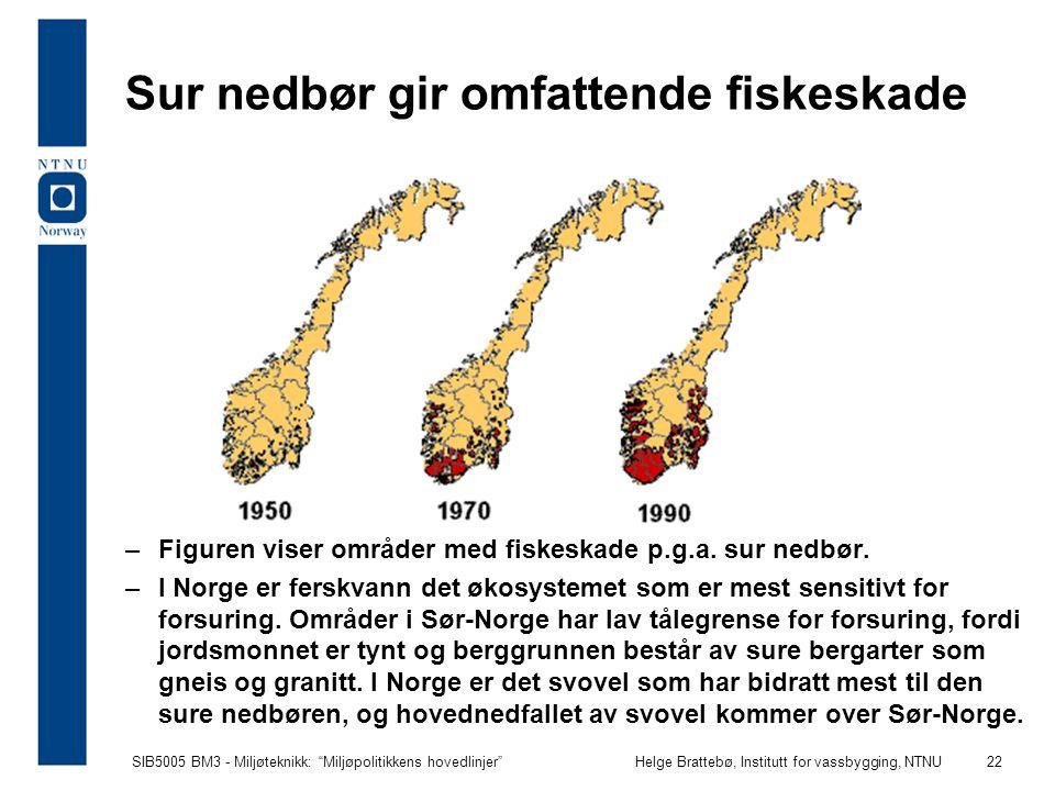 """SIB5005 BM3 - Miljøteknikk: """"Miljøpolitikkens hovedlinjer""""Helge Brattebø, Institutt for vassbygging, NTNU 22 Sur nedbør gir omfattende fiskeskade –Fig"""