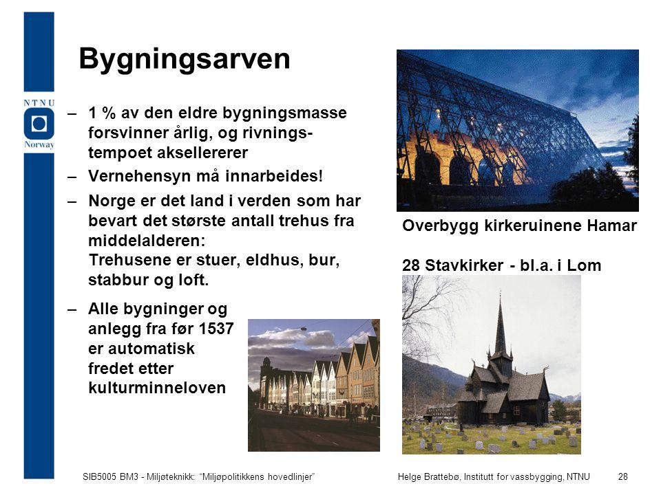"""SIB5005 BM3 - Miljøteknikk: """"Miljøpolitikkens hovedlinjer""""Helge Brattebø, Institutt for vassbygging, NTNU 28 Bygningsarven –1 % av den eldre bygningsm"""