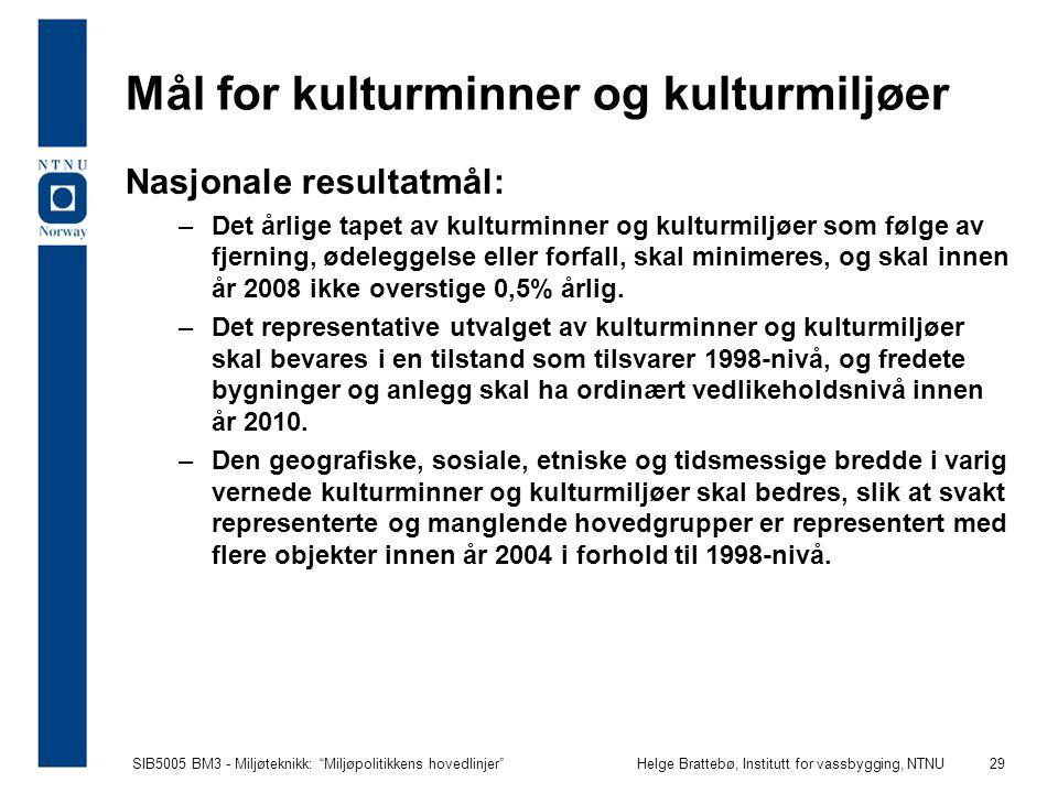"""SIB5005 BM3 - Miljøteknikk: """"Miljøpolitikkens hovedlinjer""""Helge Brattebø, Institutt for vassbygging, NTNU 29 Mål for kulturminner og kulturmiljøer Nas"""