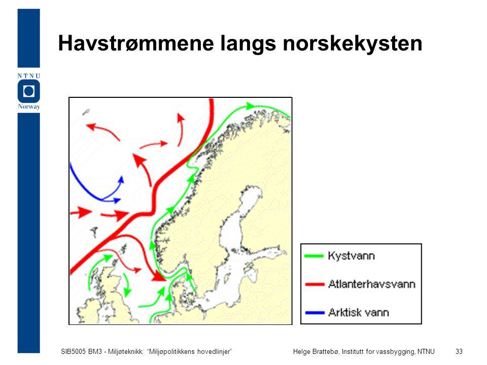 """SIB5005 BM3 - Miljøteknikk: """"Miljøpolitikkens hovedlinjer""""Helge Brattebø, Institutt for vassbygging, NTNU 33 Havstrømmene langs norskekysten"""