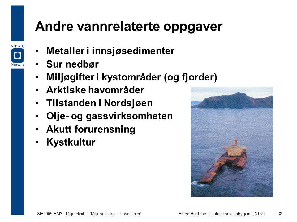 """SIB5005 BM3 - Miljøteknikk: """"Miljøpolitikkens hovedlinjer""""Helge Brattebø, Institutt for vassbygging, NTNU 38 Andre vannrelaterte oppgaver Metaller i i"""