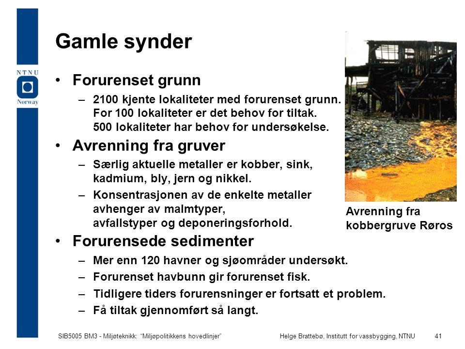 """SIB5005 BM3 - Miljøteknikk: """"Miljøpolitikkens hovedlinjer""""Helge Brattebø, Institutt for vassbygging, NTNU 41 Avrenning fra kobbergruve Røros Gamle syn"""