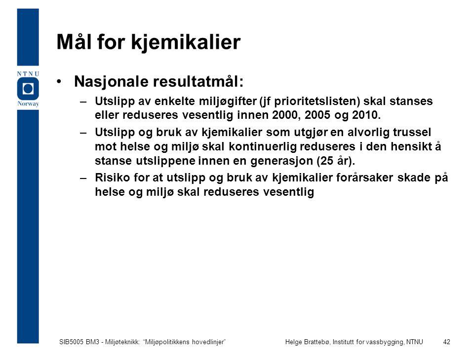"""SIB5005 BM3 - Miljøteknikk: """"Miljøpolitikkens hovedlinjer""""Helge Brattebø, Institutt for vassbygging, NTNU 42 Mål for kjemikalier Nasjonale resultatmål"""