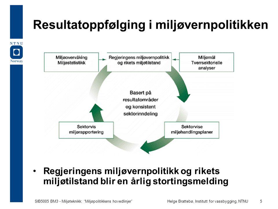 """SIB5005 BM3 - Miljøteknikk: """"Miljøpolitikkens hovedlinjer""""Helge Brattebø, Institutt for vassbygging, NTNU 5 Resultatoppfølging i miljøvernpolitikken R"""