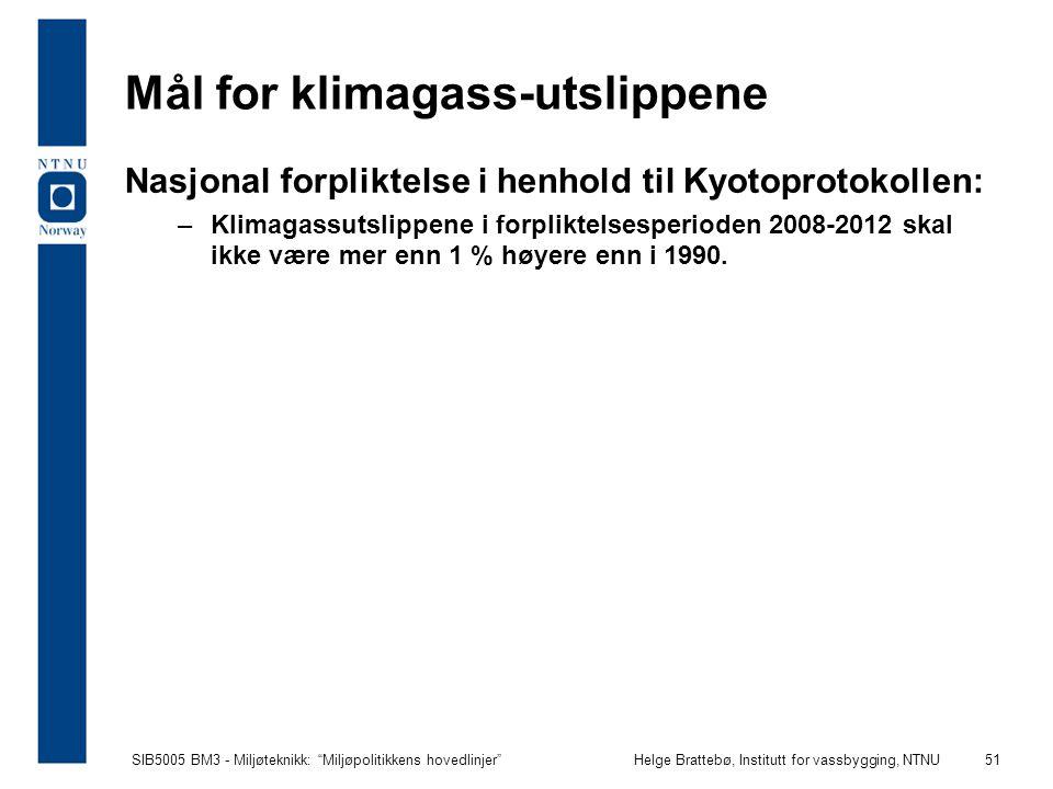 """SIB5005 BM3 - Miljøteknikk: """"Miljøpolitikkens hovedlinjer""""Helge Brattebø, Institutt for vassbygging, NTNU 51 Mål for klimagass-utslippene Nasjonal for"""