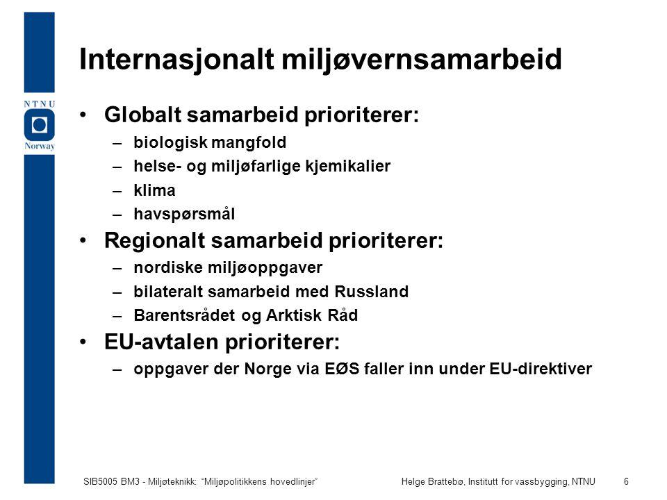 SIB5005 BM3 - Miljøteknikk: Miljøpolitikkens hovedlinjer Helge Brattebø, Institutt for vassbygging, NTNU 17 Mål for naturområder og arealbruk Nasjonale resultatmål: 1.