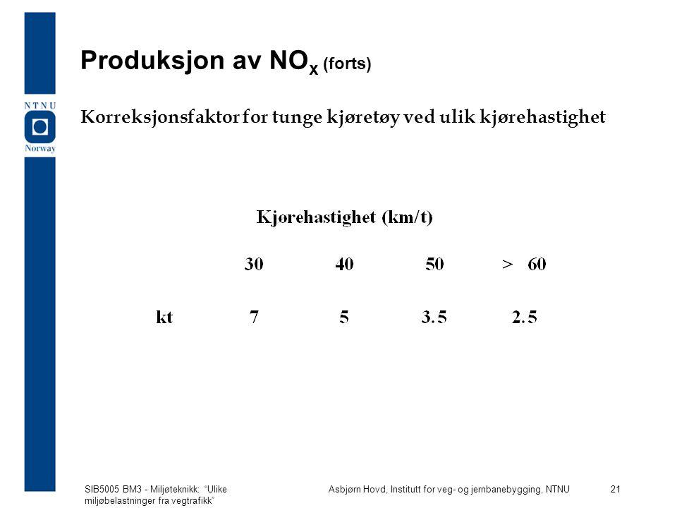 SIB5005 BM3 - Miljøteknikk: Ulike miljøbelastninger fra vegtrafikk Asbjørn Hovd, Institutt for veg- og jernbanebygging, NTNU 21 Produksjon av NO x (forts) Korreksjonsfaktor for tunge kjøretøy ved ulik kjørehastighet