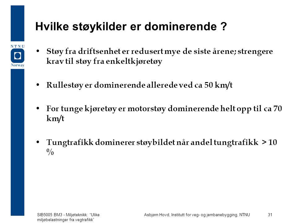 SIB5005 BM3 - Miljøteknikk: Ulike miljøbelastninger fra vegtrafikk Asbjørn Hovd, Institutt for veg- og jernbanebygging, NTNU 31 Hvilke støykilder er dominerende .
