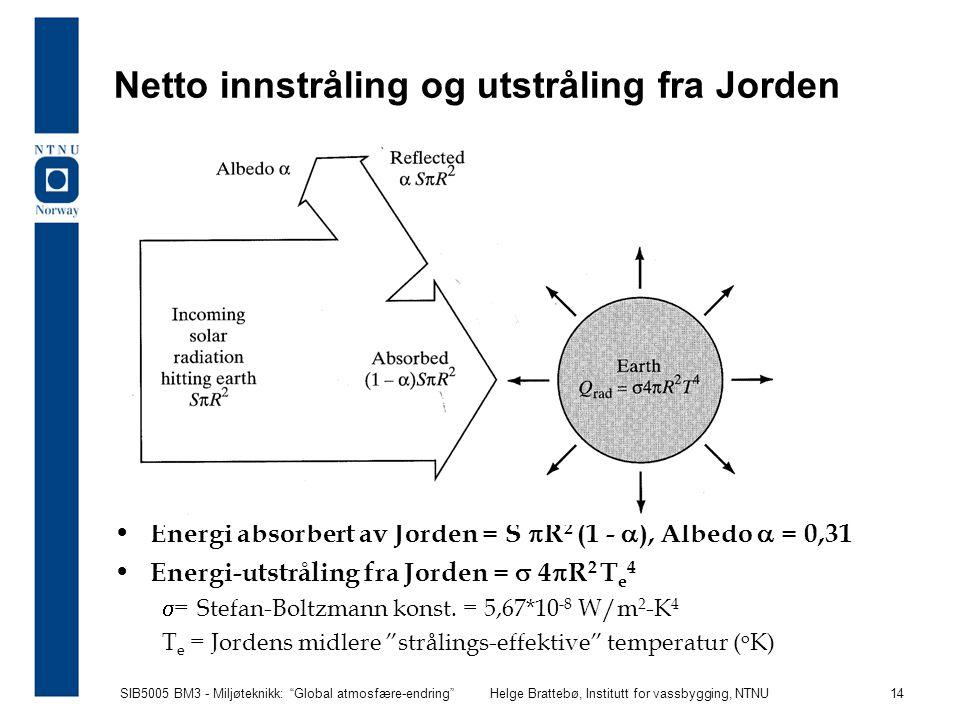 """SIB5005 BM3 - Miljøteknikk: """"Global atmosfære-endring""""Helge Brattebø, Institutt for vassbygging, NTNU 14 Netto innstråling og utstråling fra Jorden En"""