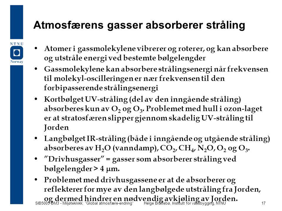 """SIB5005 BM3 - Miljøteknikk: """"Global atmosfære-endring""""Helge Brattebø, Institutt for vassbygging, NTNU 17 Atmosfærens gasser absorberer stråling Atomer"""