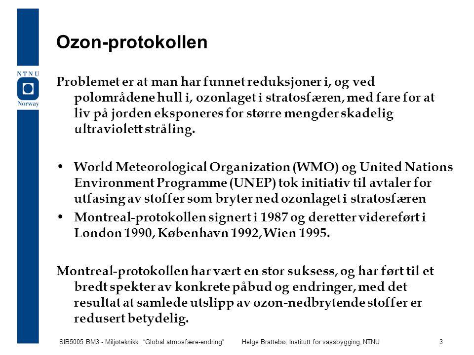 SIB5005 BM3 - Miljøteknikk: Global atmosfære-endring Helge Brattebø, Institutt for vassbygging, NTNU 14 Netto innstråling og utstråling fra Jorden Energi absorbert av Jorden = S  R 2 (1 -  ), Albedo  = 0,31 Energi-utstråling fra Jorden =  4  R 2 T e 4  = Stefan-Boltzmann konst.