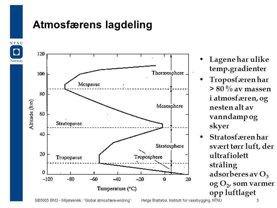 SIB5005 BM3 - Miljøteknikk: Global atmosfære-endring Helge Brattebø, Institutt for vassbygging, NTNU 6 Klima bestemmes av middelverdi og variasjon i temperatur, nedbør og vind, men temperaturen er den viktigste enkeltfaktor Temperaturen - og isbrevolumet - har variert mye gjennom tidene, og kan estimeres ved å bestemme forholdet mellom oksygenisotopene 16 O og 18 O i prøvekjerner fra dyphavsbunn og isbreer ( 18 O er litt tyngre enn 16 O og faller først ned som nedbør)  18 O(‰) = [( 18 O/ 16 O) prøve -( 18 O/ 16 O) standard ]/[ 18 O/ 16 O) standard ]*10 3 som er forholdstallet mellom 18 O og 16 O i en gitt prøve sett i forhold til en gitt standard Global temperatur i vanndamp: 16 O og 18 O i gitt balanse i kort-transportert nedbør: noe mer 18 O i lang-transportert nedbør: noe mindre 18 O i kjerneprøver vil forholdstallet 18 O/ 16 O øke i havvann og sedimenter når isbrevolumet vokser mye
