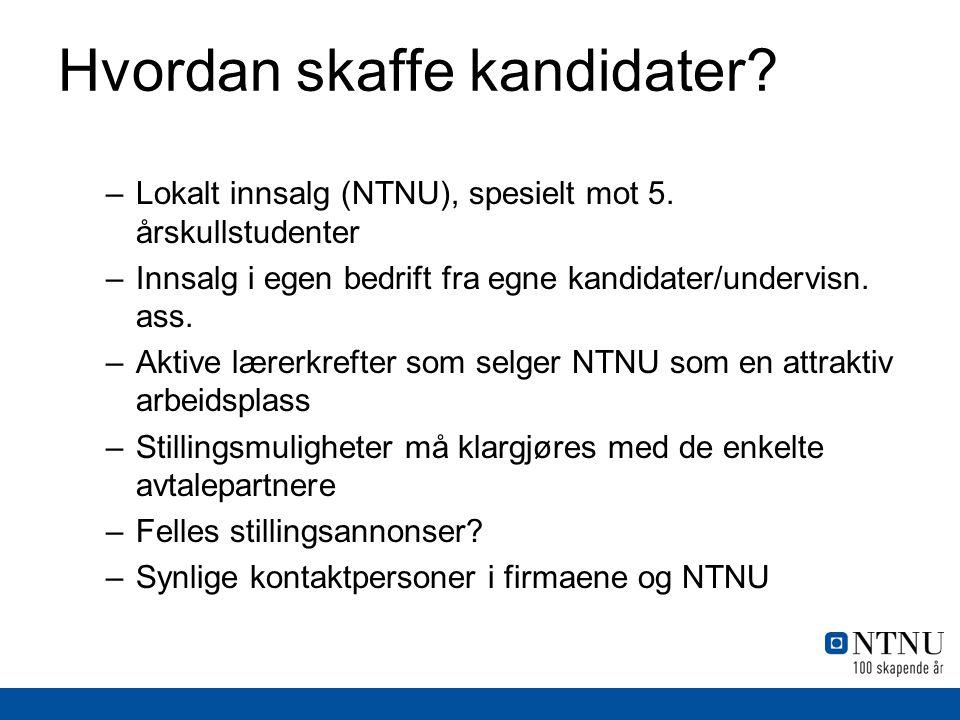 Hvordan skaffe kandidater? –Lokalt innsalg (NTNU), spesielt mot 5. årskullstudenter –Innsalg i egen bedrift fra egne kandidater/undervisn. ass. –Aktiv